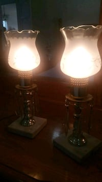 brown wooden base white shade table lamp Billerica, 01821