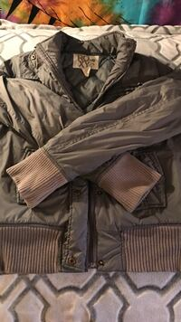 gray and brown full-zip jacket