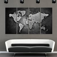 Black Map 4PCS Canvas Ottawa