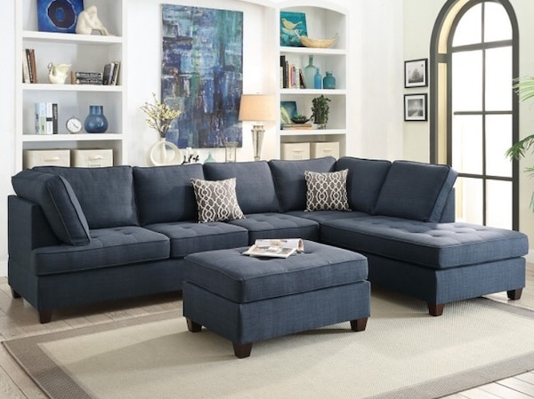 Used BEAUTIFUL 2 PCS SECTIONAL SOFA W/2 ACCENT PILLOWS + REVERSIBLE ...