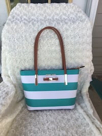 teal and white leather tote bag Coker, 35452