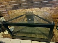 glass-top with black frame TV stand