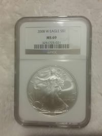 2008 W eagle MS 69 coin emblem Urbana, 43078