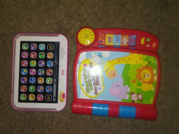 two pink and purple learning toys