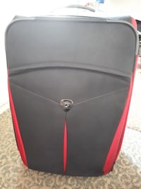 black and red luggage bag