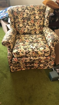 brown and green floral sofa chair Raleigh, 27612