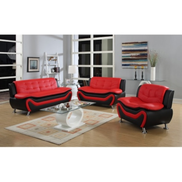 Wondrous Clearance 3 Pc Black And Red Faux Leather Modern Living Room Sofa Set Ocoug Best Dining Table And Chair Ideas Images Ocougorg