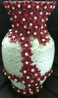 LACE COVERED VASE WITH FABRIC ROSES AND PEARL