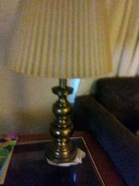 brass base table lamp with white lampshade 373 mi