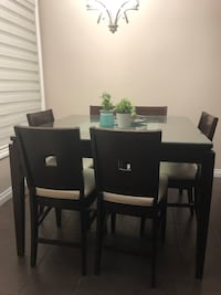Pub height square wood table with 6 chairs Calgary, T3K 2M1