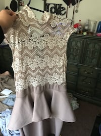 Lace top dress. Nude pink