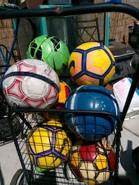 two blue and green soccer balls San Diego, 92105