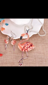 Pink Flamingo Necklace & Earrings Set Jewelry Vancouver, V5X 1A7