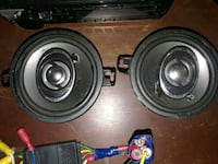 two black coaxial speakers with black car amplifier Stockton, 95205