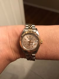 Round silver-colored rolex analog watch with link bracelet New York, 10019