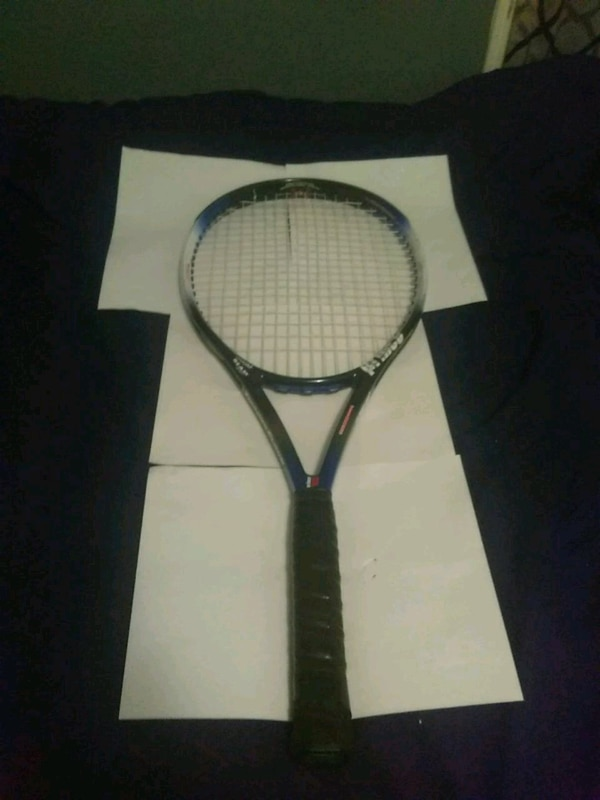 black and white tennis racket