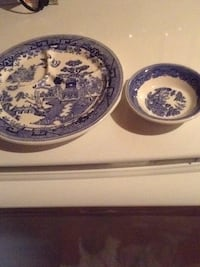 White and blue ceramic plates, cups, bowls Depew, 14043