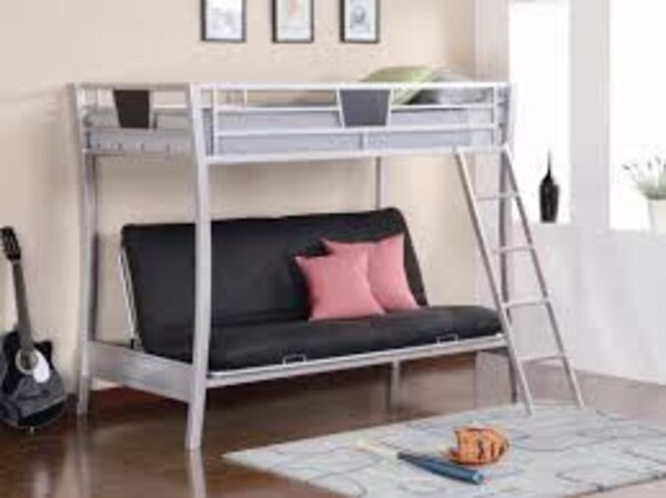 Used Silver Bunk Bed With A Couch Bed On The Bottom For Sale In