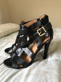 pair of black leather open-toe ankle strap heels Asheville, 28806