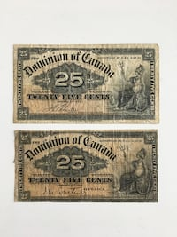 Lot of 2 -1900 Antique Dominion of Canada Shinplasters Paper Monies - 117 years old Calgary, T2R 0S8