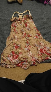 women's brown, white, and red floral halter top dress Kansas City, 66104