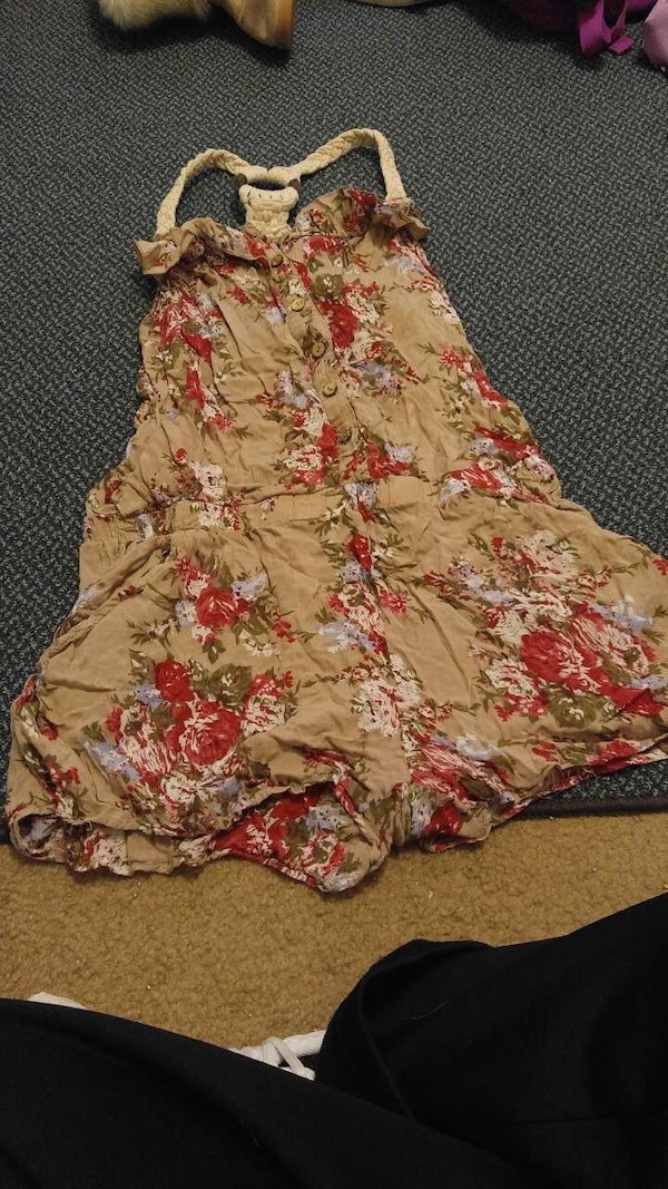 women's brown, white, and red floral halter top dress