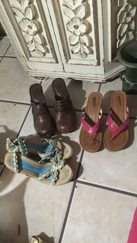 Three pairs of shoes to our wedges and one pair that's brown are clogs Sebring, 33870