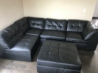 5 piece sectional black leather couch