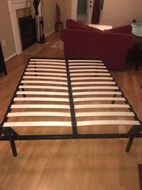 Full size bed frame, mattress, bed risers and gel memory foam bed topper 22 km