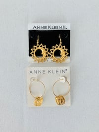 Two Pairs of Vintage Gold Anne Klein Earrings New in Package