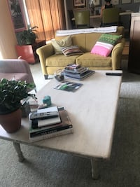 Rectangular white wooden center table or coffee table