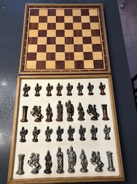 Vintage Roman Nickel & Copper Chess Game
