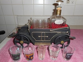 Vintage Car With Shot Glasses And Decanter