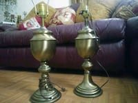 two brass-colored base table lamps Lowell, 01852