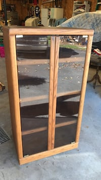 Oak entertainment cabinet with glass doors - rolling  Sugarloaf, 18249