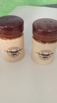 "Two historical ""Hughes Flying Boat"" ceramic condiment shakers East Marlborough, 19348"