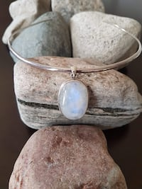 "925 STERLING SILVER NATURAL MOONSTONE PENDANT!   1.8"" LONG!"