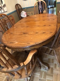 round brown wooden table with four chairs dining set Annandale, 22003