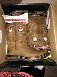 Brow nand grey leather cowboy boots in box Boone, 50036