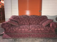 Couches (deep red floral)