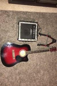 Acoustic/Electric guitar with amplifier and guitar stand