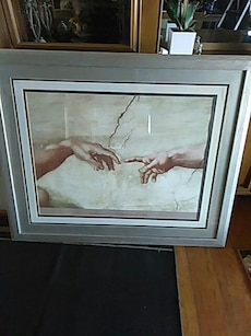 gray wooden framed the creation of adam painting