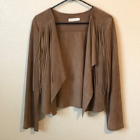 Large Brown Suede Faux Leather boutique jacket with fraying Santa Rosa, 95403