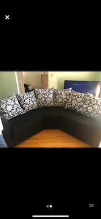2 piece couch set for sale with throw pillows.