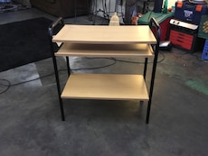 beige and black side table