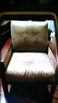 brown wooden framed white padded armchair Crofton