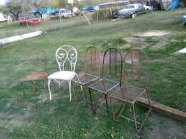 Five rustic style Metal chairs