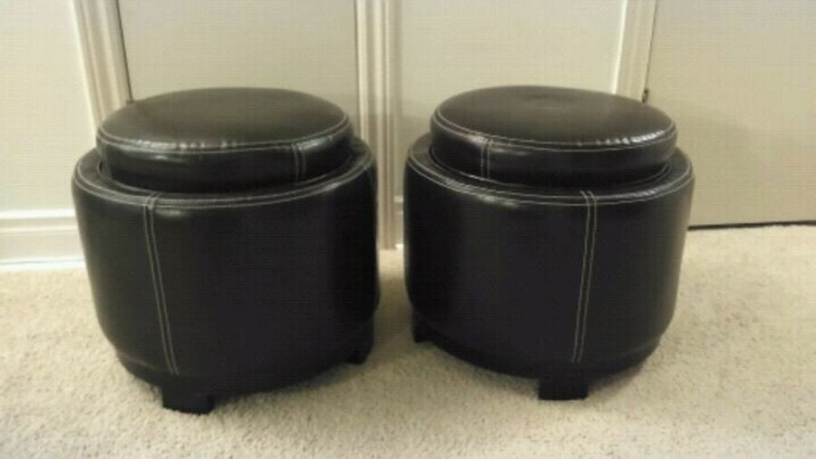 Faux leather stools with storage and trays 1fd47048-8698-4c8e-994b-2ee93e3da906