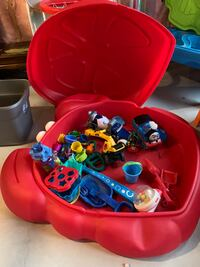 Sand box with toys