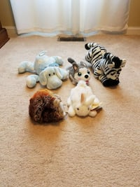 five white, black and gray animal plush toys Gaithersburg, 20878